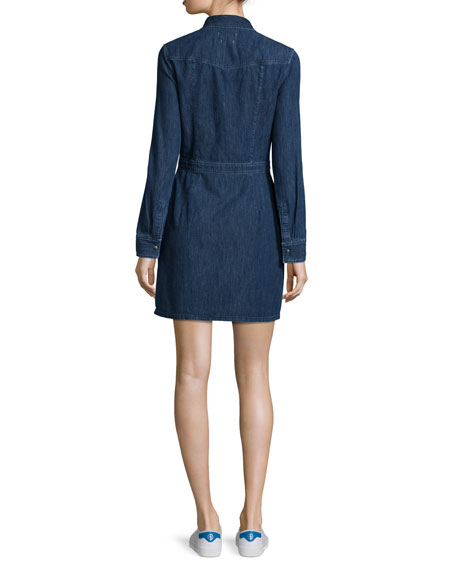 Long-Sleeve Snap-Front Utility Dress, Paz