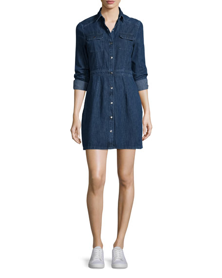 rag & bone/JEAN Long-Sleeve Snap-Front Utility Dress, Paz