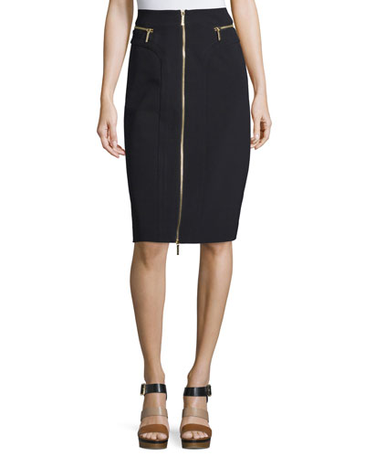 Zip-Front Midi Skirt, Black