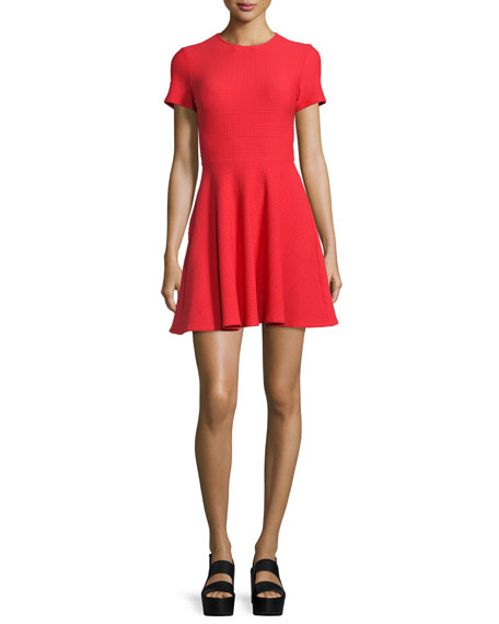 Short-Sleeve Textured A-Line Dress, Cherry Red