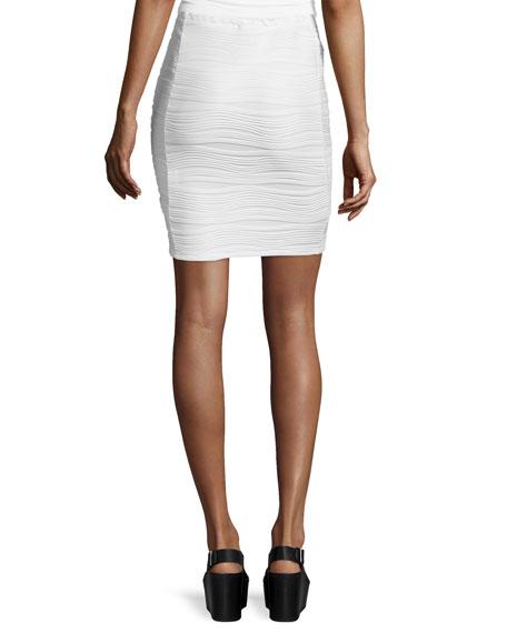 Wavy Stripe Pencil Skirt, White