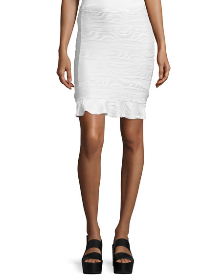 Opening Ceremony Wavy Stripe Pencil Skirt, White
