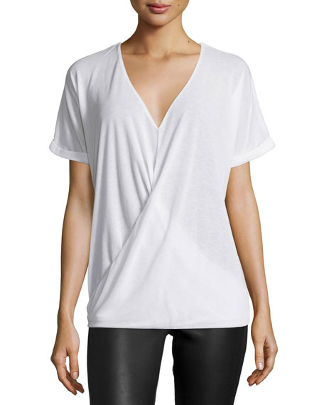 Halston Heritage Short-Sleeve Wrap Top, White