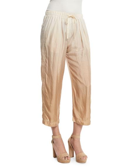 Donna Karan Dip-Dye Wide-Leg Cropped Pants, Paper Bag/Parchment