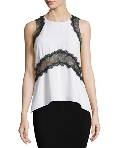 Amelia Sleeveless Lace-Inset Top, White Pattern