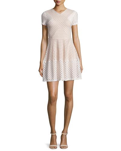 Elyze Short-Sleeve Eyelet Dress, Bare Pink Combo