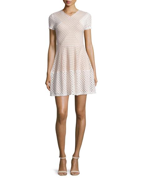 BCBGMAXAZRIA Elyze Short-Sleeve Eyelet Dress, Bare Pink Combo