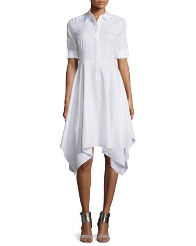 Beatryce Short-Sleeve Shirtdress, White