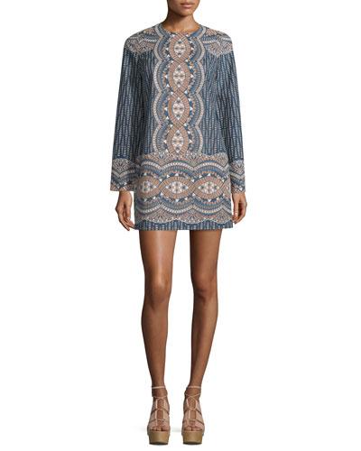 Allina Long-Sleeve Shift Dress, Dark Ink/Combo