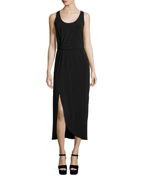 Halston Heritage Sleeveless Knot-Front Midi Dress, Black