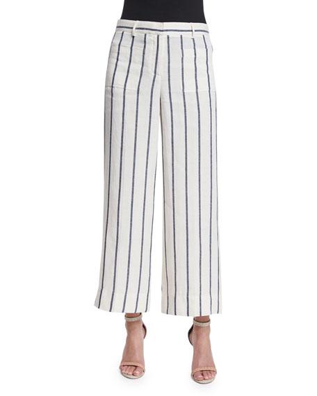 Theory Livdale Wide-Leg Striped Linen Pants