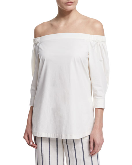 Theory Joscla Light Poplin Off-The-Shoulder Top