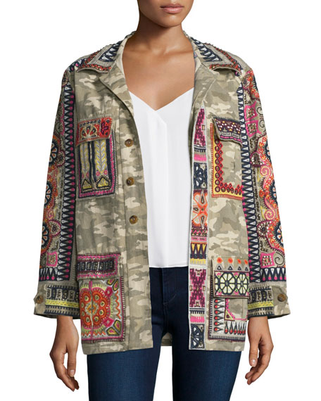 Calypso St. Barth Nessa Button-Front Embroidered Jacket, Green