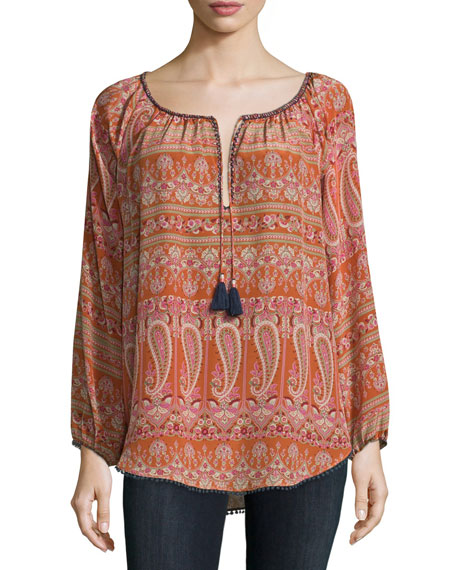 Calypso St. Barth Kamaria Long-Sleeve Paisley-Print Top, Orange