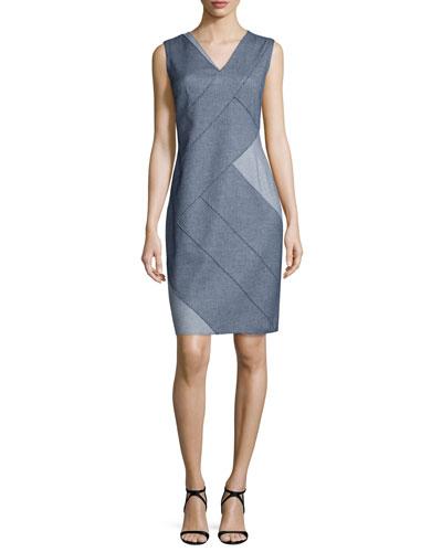 Judith Sleeveless Patch Sheath Dress, Indigo