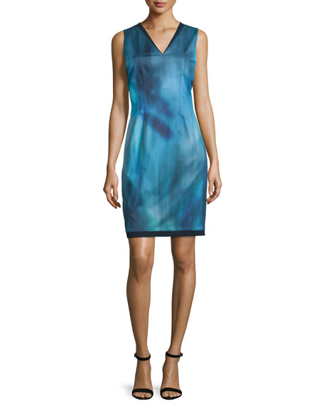 Elie Tahari Emory Sleeveless Printed Sheath Dress, Dark