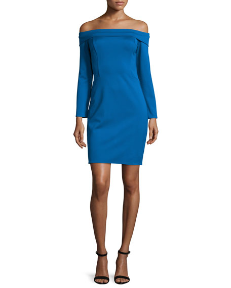 Halston Heritage Off-The-Shoulder Cocktail Dress, Sapphire