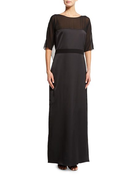 Halston Heritage Half-Sleeve Draped-Back Gown, Black