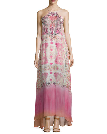 Camilla Sleeveless Embellished Maxi Dress, Sea Serpent