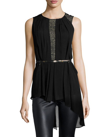 Halston Heritage Sleeveless Lace-Inset Belted Top, Black