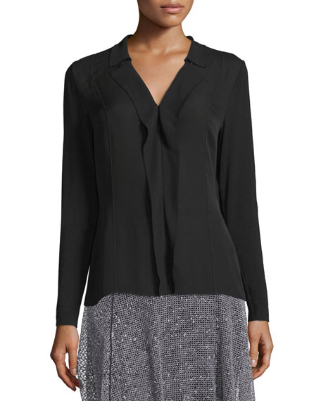 Elie Tahari Wren V-Neck Layered-Front Blouse