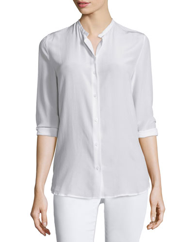 Faye Button-Front Long-Sleeve Blouse, Bright White