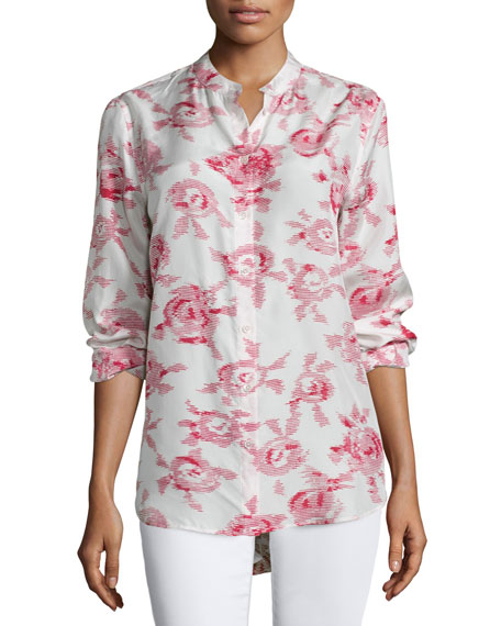 Equipment Henri Button-Front Floral-Print Blouse, White Sand/Quinacrodin
