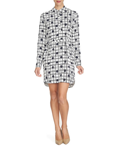 Long-Sleeve Polka-Dot Shirtdress, Caviar