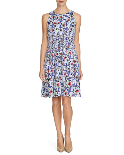 Floral-Print Fit-&-Flare Dress, Blueberry