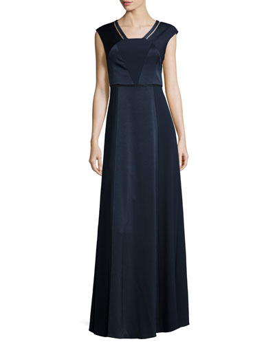 Kay Unger New York Cap-Sleeve A-line Gown