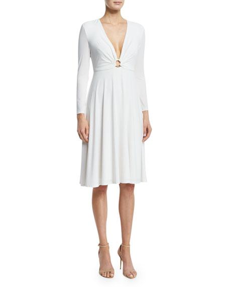 Halston Heritage Bracelet-Sleeve V-Neck Dress, Eggshell