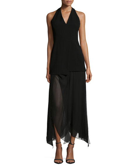Halston Heritage Sleeveless Handkerchief-Hem Dress, Black