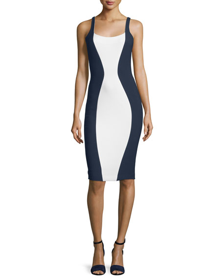 Ahana Sleeveless Two-Tone Sheath Dress, Ivory/French Navy