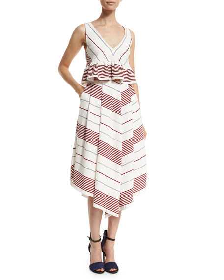 Elizabeth and James Watson Striped A-Line Skirt, Multi Colors