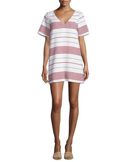 Elizabeth and James Orlando V-Neck Striped Mini Dress,
