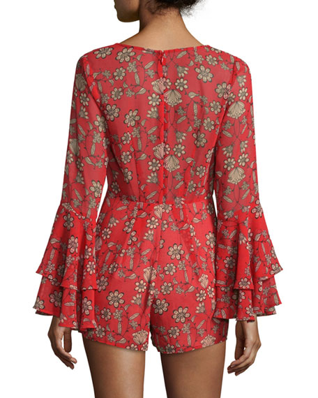 Pia Long-Sleeve Floral-Print Romper, Red