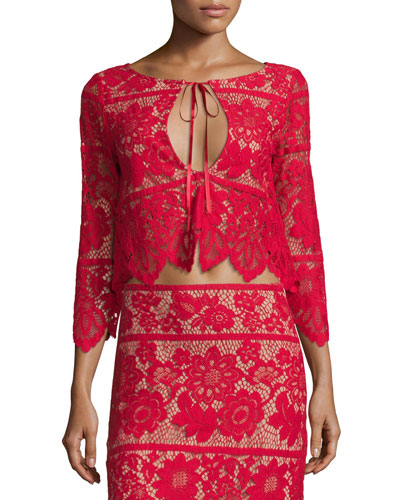 Gianna Floral-Lace Crop Top, Hot Red