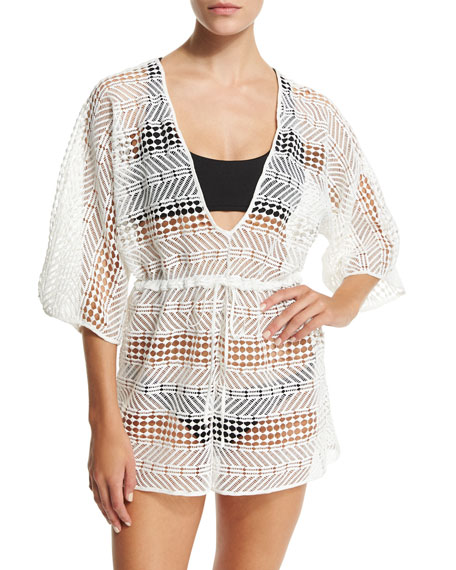Milly Savona Crocheted Romper Coverup