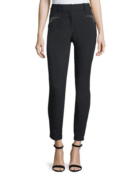 Halston Heritage Slim-Fit Slit-Back Pants with Charmeuse Trim