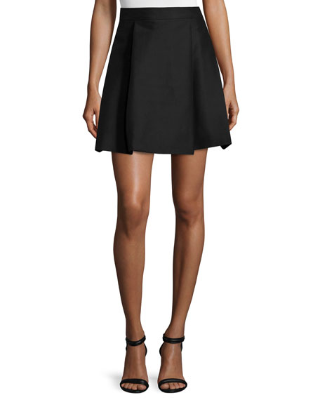 Halston Heritage High-Waisted Pleated Structured Skirt