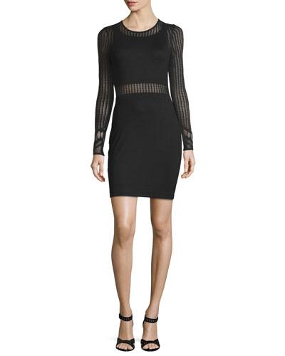 Sia Sheer-Inset Sheath Dress, Black