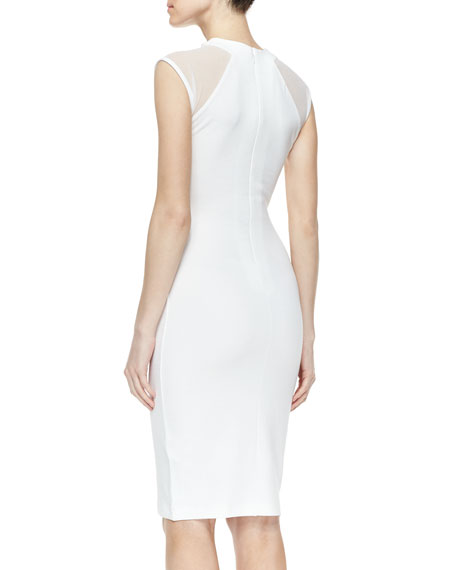 Viven Paneled Jersey Dress, White