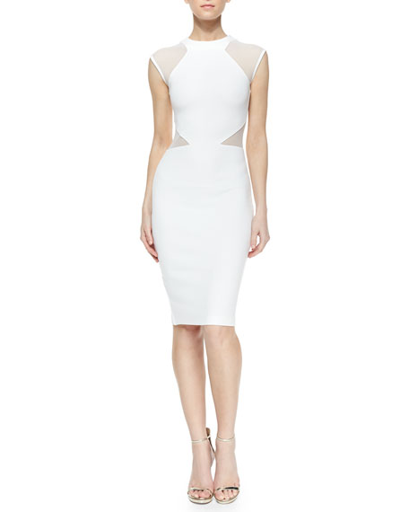 French Connection Viven Paneled Jersey Dress, White