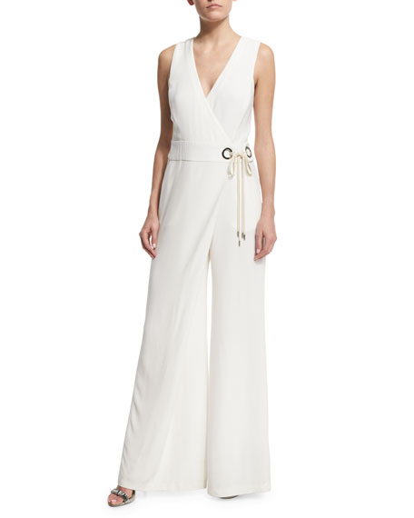 Ronan Sleeveless Wide-Leg Jumpsuit, White