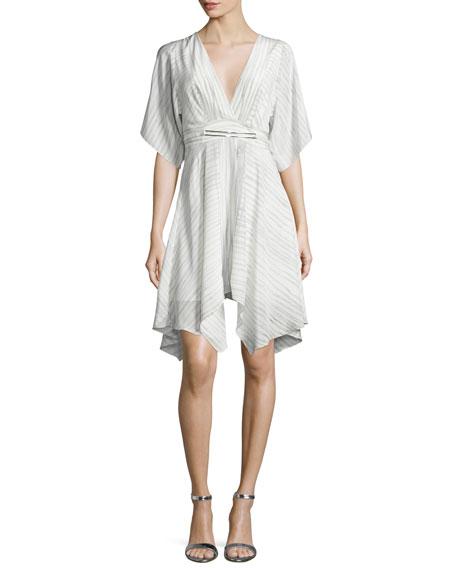 Striped Half-Sleeve Kaftan Dress