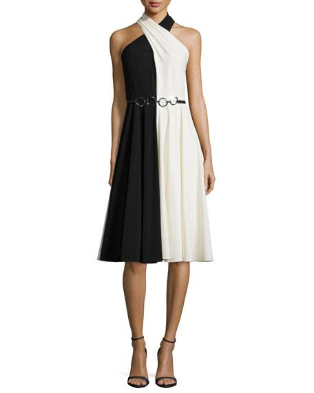 Halston Heritage Sleeveless Crisscross-Neck Colorblock Dress,