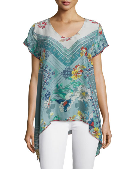 Johnny Was CollectionElly Flared Printed Georgette Tunic Top