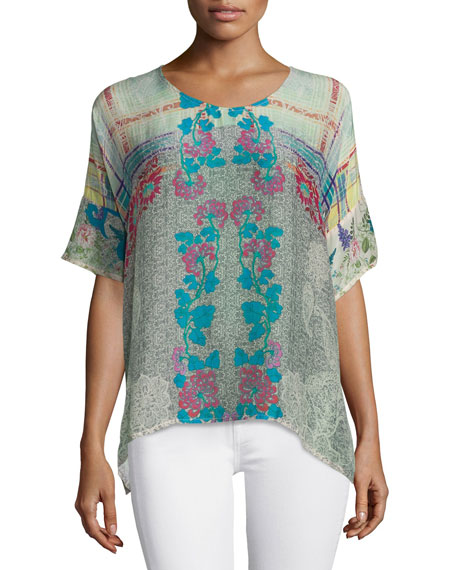 Johnny Was Collection Engina Printed Short-Sleeve Boxy Top,