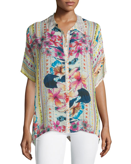 Johnny Was Collection Mellow Fields Short-Sleeve Georgette Top