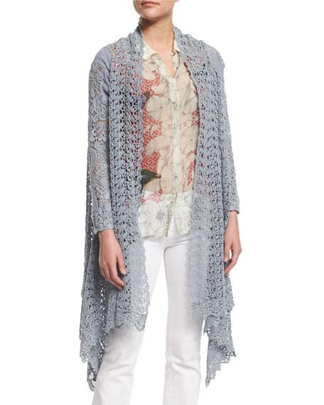 Johnny Was Collection Swirl Crochet Jacket, Fog